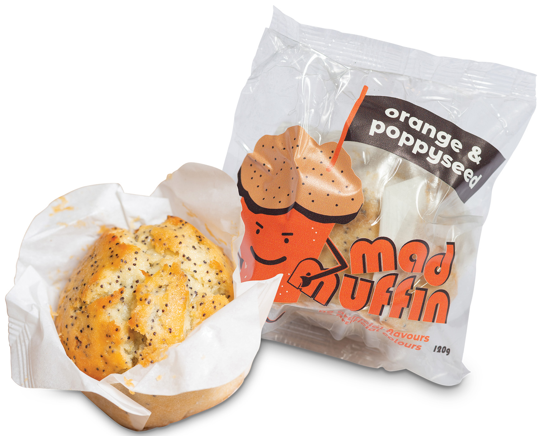 individually wrapped orange and poppyseed muffin
