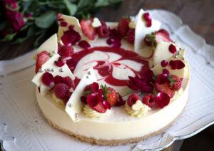White Choc & Raspberry Cheesecake